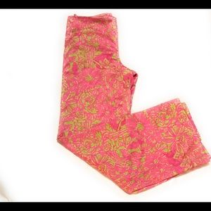 NWOT Lilly Pulitzer Wide Leg Pink Lime Trousers 8